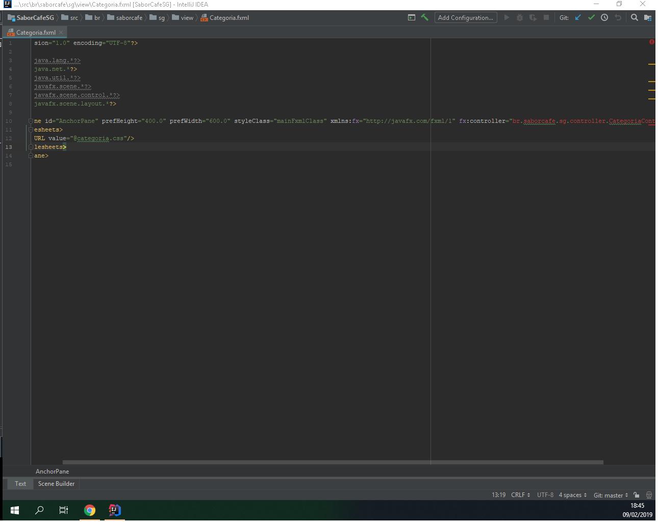 JavaFX Scene Builder erro no arquivo FXML - Java - GUJ
