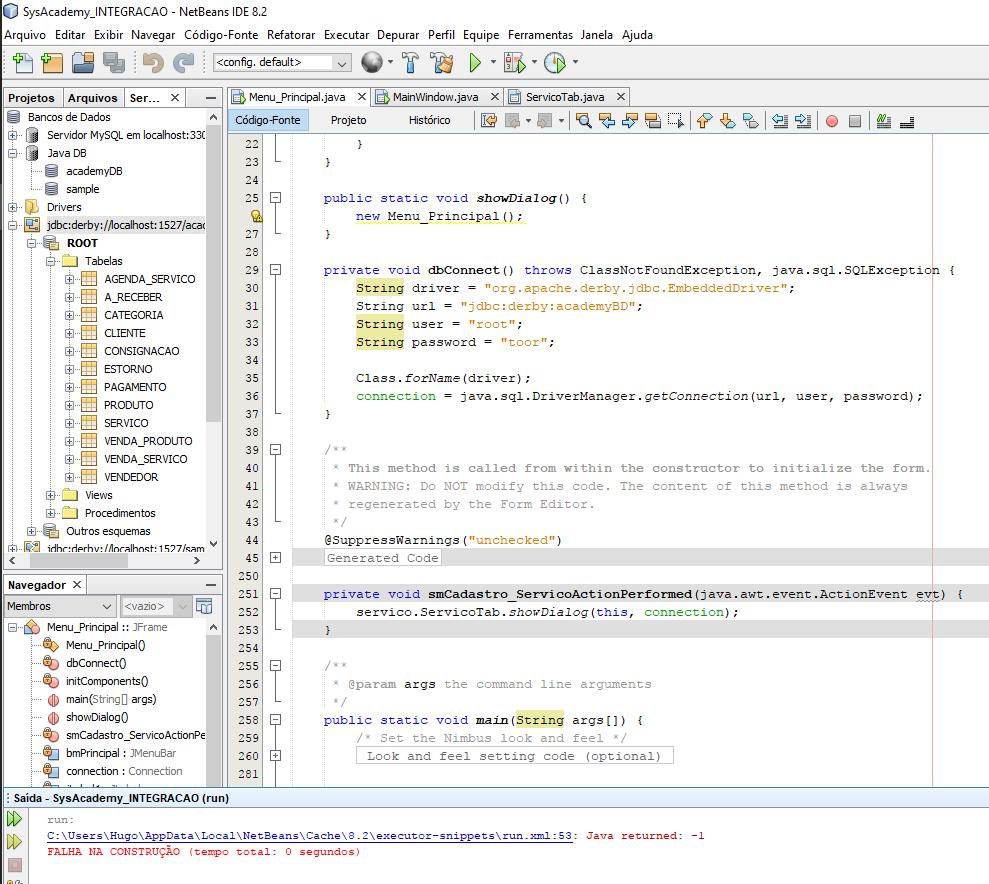 Falha na construção - Java Derby Embutido - Programação - GUJ